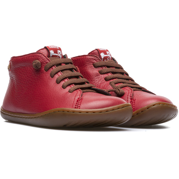 Camper Peu Red Ankle Boots Kids 90019-070