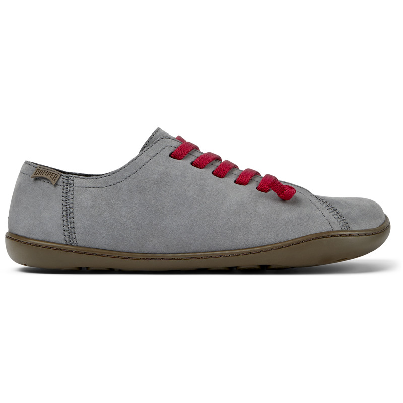 Camper Peu, Casual shoes Women, Grey , Size 5 (US), 20848-183 - Nubuck Color: gray TPU Outsole with Contact Earth Technology: Abrasion resistance 360 Stitching: greater durability. Leather Working Group Certified Lining: 50% Fabric (Recycled PET) - 40% PU - 10% Non-Woven - Made using the Strobel construction technique, our iconic casual women\\\'s shoes are modeled to the shape of the foot and offer extraordinary flexibility, making it feel like you\\\'re walking barefoot. The elastic laces provide a stable fit, while the 360 stitching adds extra durability. Their lightweight TPU outsoles are crafted using Contact Earth Technology, which makes them abrasion resistant.