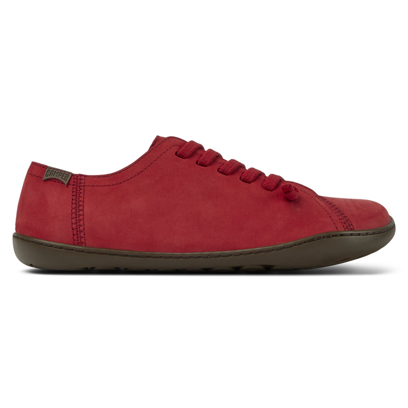 Camper Peu, Casual shoes Women, Red , Size 5 (US), 20848-185 - Nubuck Color: Brown TPU Outsole with Contact Earth Technology: Abrasion resistance 360 Stitching: greater durability. Leather Working Group Certified Lining: 50% Fabric (Recycled PET) - 40% PU - 10% Non-Woven - Made using the Strobel construction technique, our iconic casual women\\\'s shoes are modeled to the shape of the foot and offer extraordinary flexibility, making it feel like you\\\'re walking barefoot. The elastic laces provide a stable fit, while the 360 stitching adds extra durability. Their lightweight TPU outsoles are crafted using Contact Earth Technology, which makes them abrasion resistant.
