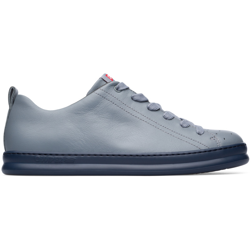 Camper Runner, Sneakers Men, Grey , Size 7 (US), K100226-044 - Upper: Leather (Calfskin) Color: Mid gray Outsole/Features: EVA for lightweight XLEXTRALIGHT for lightness and shock absorption 360 stitched for durability Insole: OrthoLite for cushioning Lining: 51% Fabric (100% Recycled PET) 27% Fabric (60% PU resin - 40% Spandex) 22% Polyester Leather Working Group Certified - Mid gray mens sneaker. Full-grain leather and EVA outsole. Our Runner mens sneakers offer a relaxed look with soft leather and a sporty silhouette in a reimagined style taken from our archives.
