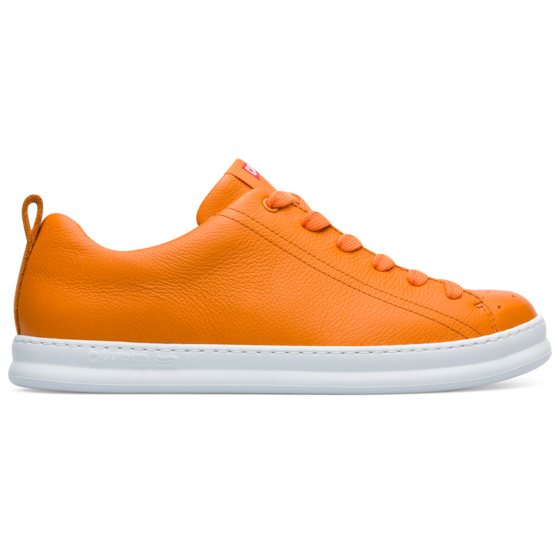 Camper Runner, Sneakers Men, Orange , Size 6 (US), K100226-060 - Upper: Calfskin Color: Orange Outsole/Features: EVA for lightweight 360 stitched for durability Insole: OrthoLite for cushioning Lining: 51% Fabric (100% Recycled PET) 26% Fabric finished Synthetic (60% PU resin - 40% Spandex) 23% Polyester Leather Working Group Certified - Orange sneaker for men. Full grain leather with white EVA outsole. Our iconic Runner was born in 1982 and marked our first step into the sport world. These men\\\'s sneakers offer a relaxed look with soft leather and a sporty silhouette in a reimagined style from our archives.