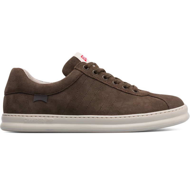 Camper Runner, Sneakers Men, Brown gray , Size 6 (US), K100227-031 - Suede Color: dark brown EVA Outsole : Lightweight Ortholite  Insole: cushioning and moisture management 360 Stitching: greater durability. Leather Working Group Certified Lining: 74 % Recycled PET 26 % Fabric (60% Nylon - 40% PU) - Weighing in at just 500 grams a pair thanks to EVA technology, these white sole sneakers are a modern take on one of our classic 80s styles. Premium nubuck and 360 stitching make these sneakers extra durable, while OrthoLite insoles provide extra cushioning.