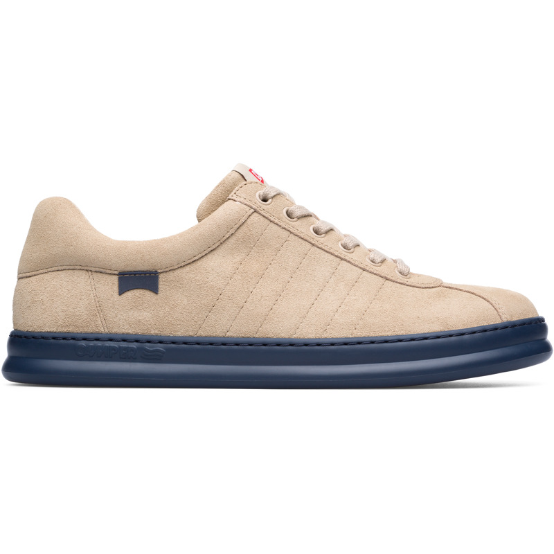 Camper Runner, Sneakers Men, Beige , Size 6 (US), K100227-038 - Upper: Nubuck Color: Beige Outsole/Features: EVA for lightweight XLEXTRALIGHT for lightness and shock absorption 360 stitched for durability Insole: OrthoLite for cushioning Lining: 51% Fabric (100% Recycled PET) 26% Fabric (60% Nylon - 40% PU) 23% Polyester Leather Working Group Certified - Beige mens sneaker. Nubuck leather and EVA outsole. Our Runner mens sneakers offer a relaxed look with soft leather and a sporty silhouette in a reimagined style taken from our archives.