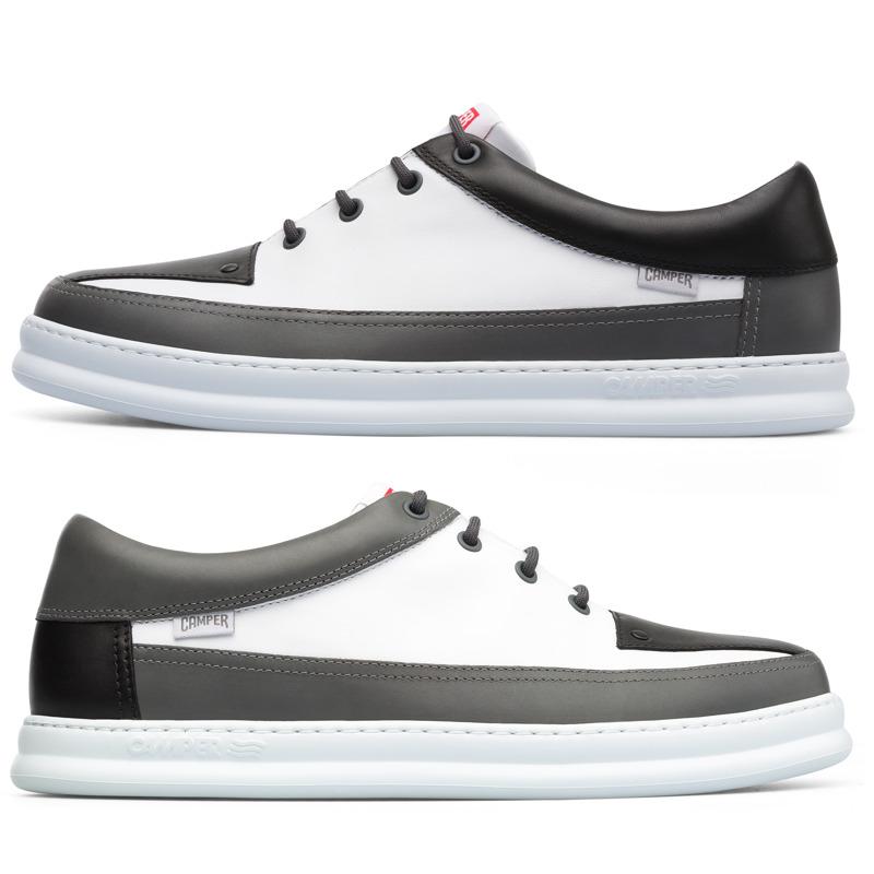 Camper Twins, Sneaker Herren, Grau/|Weiß/|Schwarz, Größ|e 40 (EU), K100472-003 | Schuhe > Sneaker > Sneaker low | Grau/weiß/schwarz | Glattleder | CAMPER