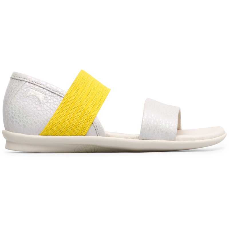 Camper Right, Sandals Kids, Beige , Size 25 (US), K800041-004 - Smooth leather. Color: white and yellow. Very flexible. Anatomical insole. Rubber outsole. Lining: 60% Pigskin, 40% Fabric. - Our ballet-inspired Right girls sandal features a flexible elastic band that ensures this slipper wont slip off easily.