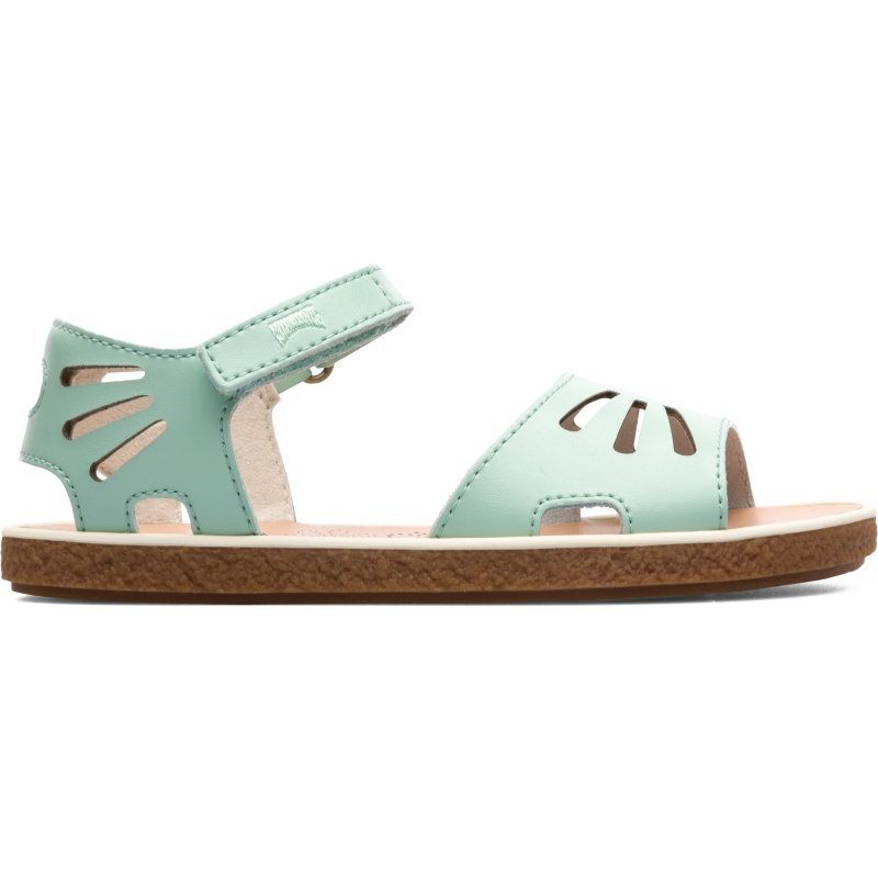 Camper Miko, Sandals Kids, Green , Size 25 (US), K800259-001 - Main material: Smooth satin leather Color: Pastel Green Leather Working Group Certified Velcro Lining: 66 % Calfskin finished rubberized 25 % Fabric (60% Nylon - 40% PU) 9 % Calfskin finished rubberized ACABADO TRAPADO - These everyday green satin sandals offer the perfect platform for girls to move. A lightweight, breathable design with a grippy rubber outsole, the kids sandals have Velcro closing straps that make them adjustable and easy to fit. The smooth satin leather uppers are coated with a PU material that makes them extra easy to keep clean.