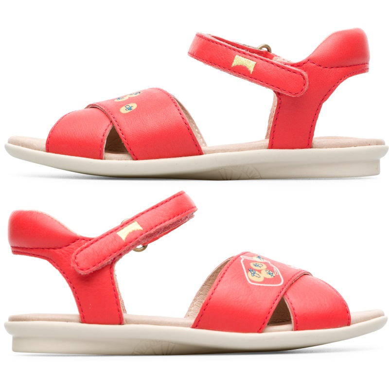 Camper Twins, Sandals Kids, Pink , Size 25 (US), K800301-001 - Main material: Smooth leather Color: pink Leather Working Group Certified Lining: 84 % Pigskin 16 % Fabric (60% Nylon - 40% PU) - Our classic TWINS concept lives on in these perfectly mismatched, truly unique kids sandals. Inspired by classic ballerinas, these pink sandals for girls offer a contemporary and versatile summer look. Thanks to their glove construction methods, theyre extraordinarily flexible and their casual style is reflected in their refined lasts. To ensure both sustainability and an easy fit, elastics are used which are made of 79% recycled material.