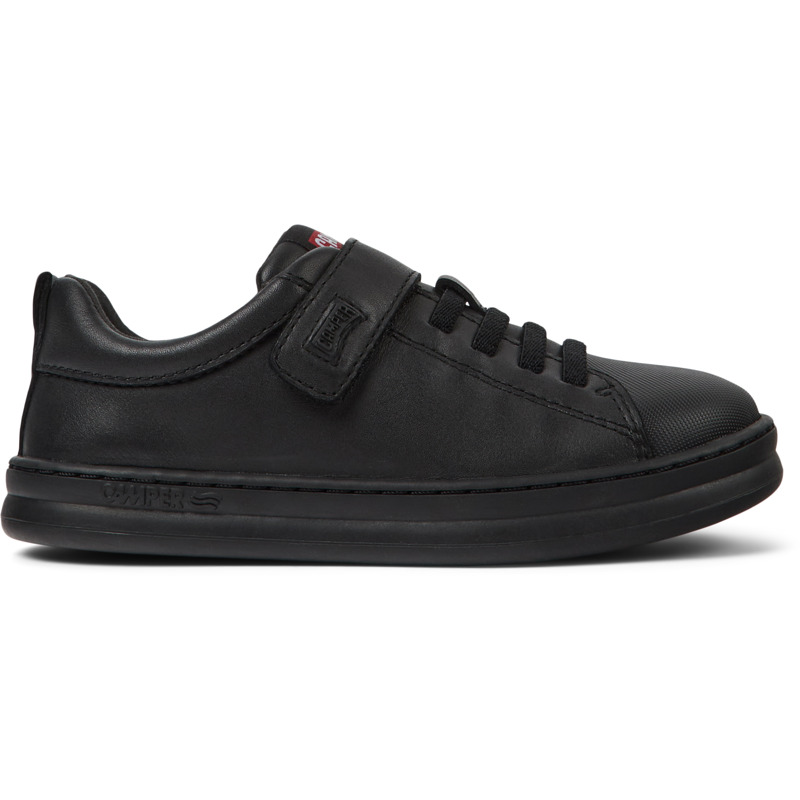 Camper Runner, Sneakers Kids, Black , Size 25 (US), K800319-001 - Upper: Calfskin / Technical fabric Color: Black Outsole/Features: Stitched rubber outsole for durability and good grip Velcro and zip closing system for easy fit Laces of 74% recycled PET - 26% Latex Insole: OrthoLite for cushioning and breathability Lining: 55% Fabric (60% Nylon - 40% PU) 45% Fabric (100% Recycled PET) Leather Working Group Certified - Black full grain leather and textile sneaker for boys with stitched rubber outsole. Our Runner boys\\\' sneakers are a miniature version of our original sport style. A fun, laid-back look that\\\'s great for all-day play.
