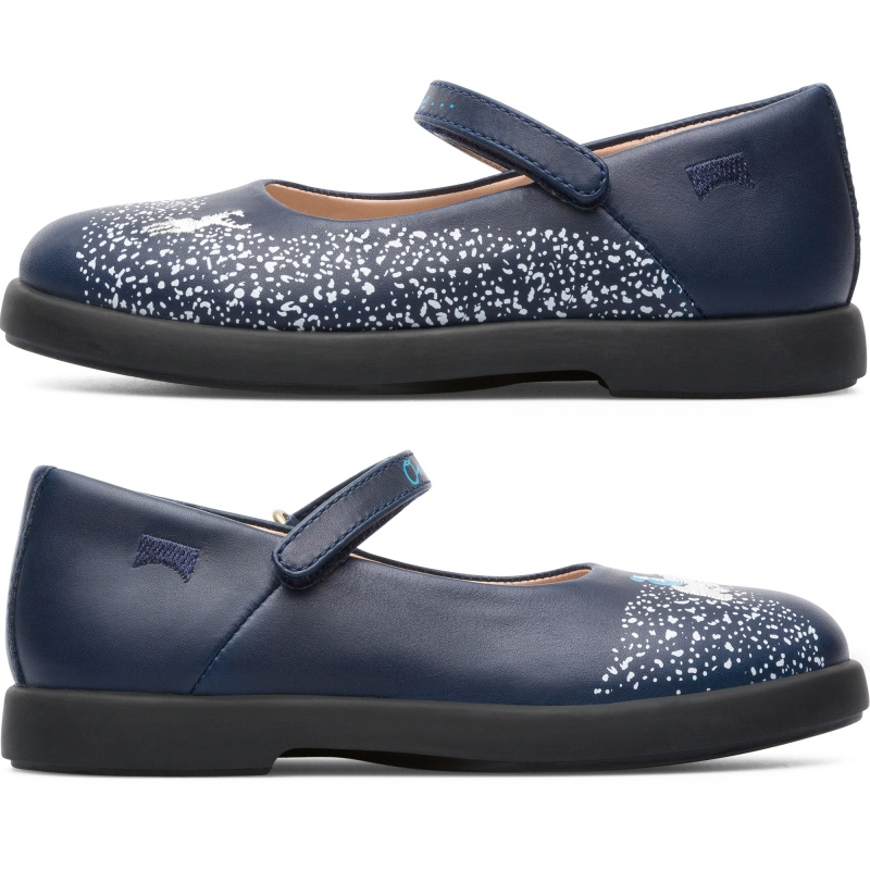 Camper Twins, Ballerinas Kids, Blue , Size 25 (US), K800327-001 - Smooth leather Color: navy Rubber outsole: Extraordinary Grip Velcro and Interior Zipper: Easy Fit Ortholite  Insole: Cushioning System Lining: 82 % Pigskin 18 % Fabric (60% Nylon - 40% PU) - Part of our TWINS collection, these kids\\\' shoes are asymmetrically designed to look a little different. These ballerina shoes for kids feature an elegant, modern style that makes them an everyday shoe. Crafted from a unique combination of premium materials, the shoes feature warm linings and OrthoLite insoles to make them cozier and more breathable. Rubber soles add extra flexibility and provide better traction.