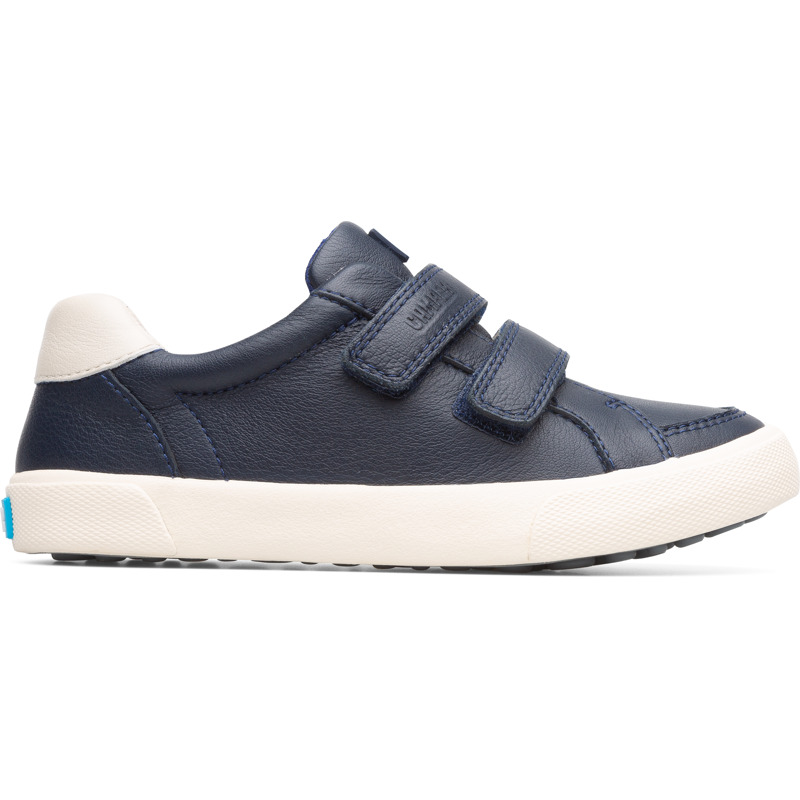 Camper Pursuit, Sneakers Kids, Blue , Size 25 (US), K800336-001 - Upper: Leather (Calfskin) Color: Navy Outsole/Features: Rubber for good grip Velcro straps for easy fit Insole: OrthoLite for cushioning Lining: 67% Fabric (100% Recycled PET) 33% Fabric (60% Nylon - 40% PU) Leather Working Group Certified - Navy Velcro sneakers for kids. Full-grain leather and rubber outsole. Our Pursuit kids\\\' shoes are an easy-going style inspired by vintage sport designs, but adapted for a new generation.