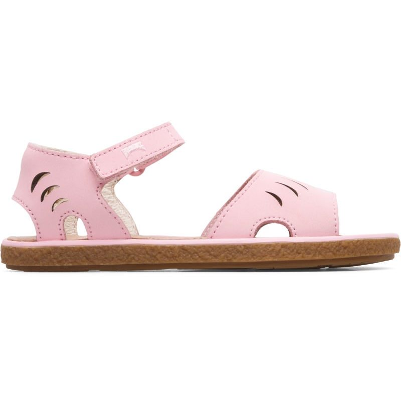 Camper Miko, Sandals Kids, Pink , Size 25 (US), K800342-002 - Upper: Leather (80% Calfskin) Color: Pastel pink Outsole/Features: Rubber for good grip Velcro straps for adjustment Lining: 67% Calfskin 33% Pigskin Leather Working Group Certified - Pastel pink girls full-grain leather sandal with rubber outsole. Our Miko girls\\\' sandals offer a playful, semi-open design that is tough enough to handle everyday play.