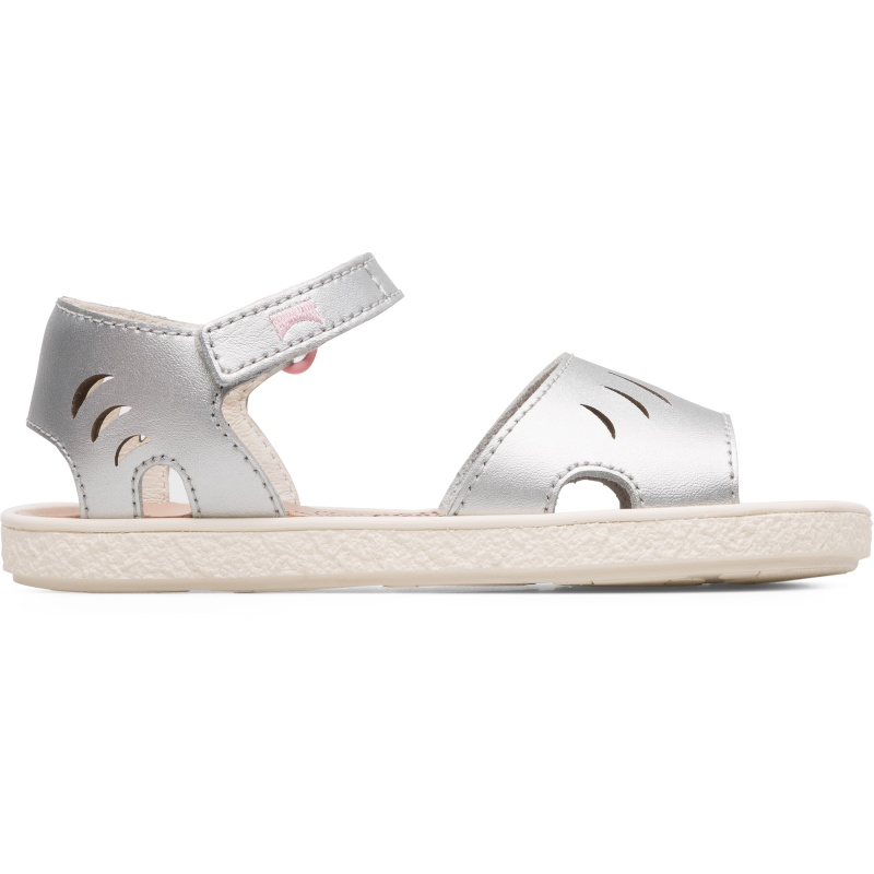 Camper Miko, Sandals Kids, Grey , Size 25 (US), K800342-003 - Upper: Leather (Calfskin) Color: Silver Outsole/Features: Rubber for good grip Velcro straps for adjustment Lining: 67% Calfskin 33% Pigskin Leather Working Group Certified - Silver girls full-grain leather sandal with rubber outsole. Our Miko girls\\\' sandals offer a playful, semi-open design that is tough enough to handle everyday play.