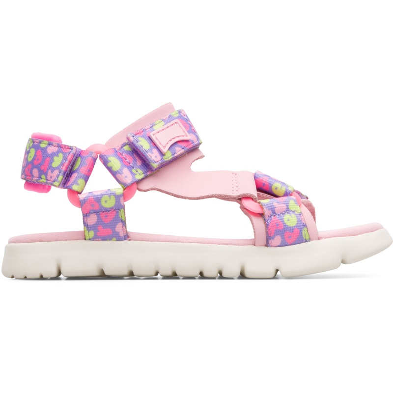 Camper Oruga, Sandals Kids, Pink/Purple/Yellow, Size 25 (US), K800346-003 - Upper: Technical fabric (100% Recycled PET with print finish) /Leather (80% Calfskin) / Technical fabric (Nylon) Color: Pink / Multicolor Outsole/Features: EVA with flex-cuts and extraordinary light Velcro closing system for easy fit Insole: Padded for cushioning Lining: 55% Fabric (60% Nylon - 40% PU) 35% Calfskin 7% Fabric (60% Polyester - 35% Nylon - 5% Spandex) 3% Fabric print finished Leather Working Group Certified - Pink kids sandal with multi-colored details. Full-grain leather and textile with EVA outsole. The light and bendable Oruga combines Camper\\\'s distinctive urban style with soft leathers and textiles.