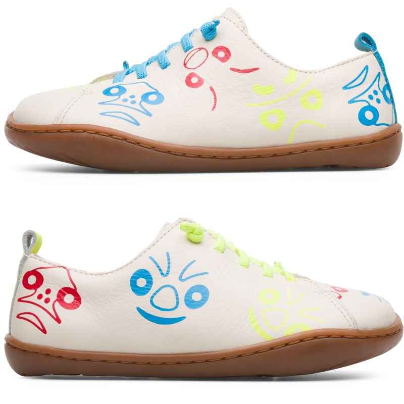 Camper Twins, Sneakers Kids, Beige , Size 25 (US), K800350-002 - Upper: Leather (Calfskin) Color: Multicolor Outsole/Features: Rubber for good grip 360 stitched for durability Elastic laces and strap closing system for easy fit Insole: Removable footbed for better fit Lining: 41% Fabric (100% Recycled PET) 49% Pigskin 10% Fabric (60% Nylon - 40% PU) Leather Working Group Certified - Multi-colored full-grain leather kids shoe with stitched outsole. Our classic TWINS concept  opposite yet complementary  lives on in these mismatched kidss shoes that form a truly unique pair.