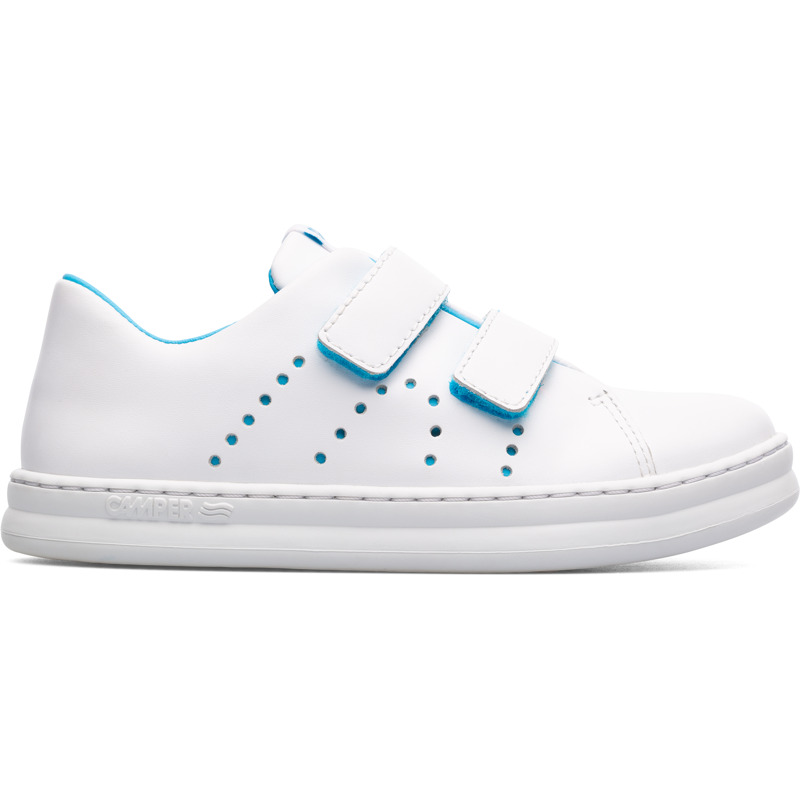 Camper Runner, Sneakers Kids, White , Size 25 (US), K800358-005 - Upper: Leather (Calfskin) Color: White Outsole/Features: Stitched rubber outsole for durability and good grip Velcro straps for easy fit Insole: OrthoLite for cushioning Lining: 43% Fabric (60% PU resin - 40% Spandex) 35% Cotton 22% Fabric (100% Recycled PET) Leather Working Group Certified - White full-grain leather sneaker for kids with stitched rubber outsole and blue details. Our Runner boys\\\' sneakers are a miniature version of our original sport style. A fun, laid-back look that\\\'s great for all-day play.