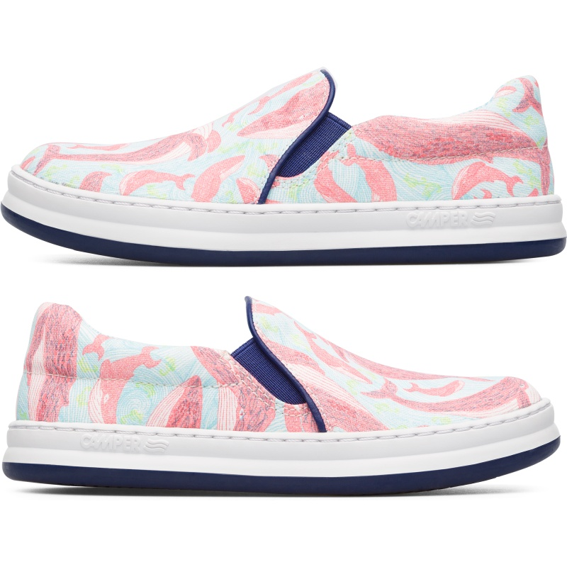 Camper Twins, Sneakers Kids, Blue/Red, Size 26 (US), K800359-003 - Upper: Technical fabric (Polyester) /Leather (Calfskin) Color: Print Outsole/Features: Stitched rubber outsole for durability and good grip Insole: OrthoLite for cushioning Lining: 58% Cotton print finished 31% Polyester print finished 11% Fabric (60% Nylon - 40% PU) Leather Working Group Certified - Multi-colored girls printed textile moccasin with stitched rubber outsole. Artist and author Aina Bestard collaborates with Camper for Kids to create a special TWINS collection inspired by her children\\\'s book What\\\'s Hidden in the Sea? Each pair comes with a pair of special colored glasses that allow little ones to dive a bit deeper and explore the secrets of the sea.