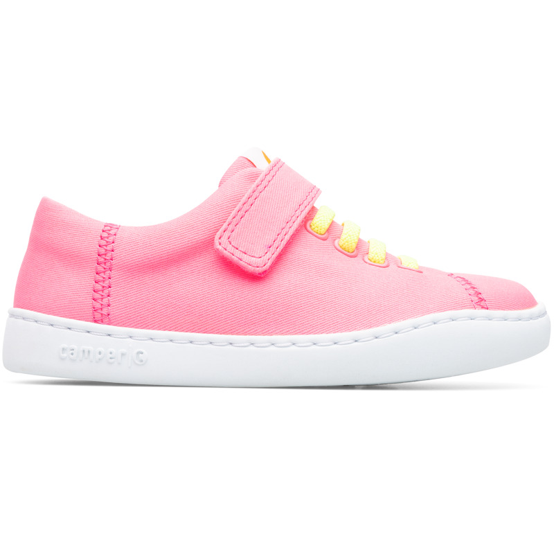 Camper Peu, Sneakers Kids, Pink , Size 25 (US), K800376-007 - Upper: Natural textile (Cotton) Color: Pink Outsole/Features: Rubber for good grip Elastic laces and strap closing system for easy fit Insole: OrthoLite for cushioning Lining: 73% Fabric (100% Recycled PET) 24% Polyester 3% Fabric (60% PU resin - 40% Spandex) - Pink kids shoe with stitched outsole. Peu Touring is a sportier and more contemporary version of our iconic Peu, enhanced with technical upgrades and a recognizable curve on the outsole.