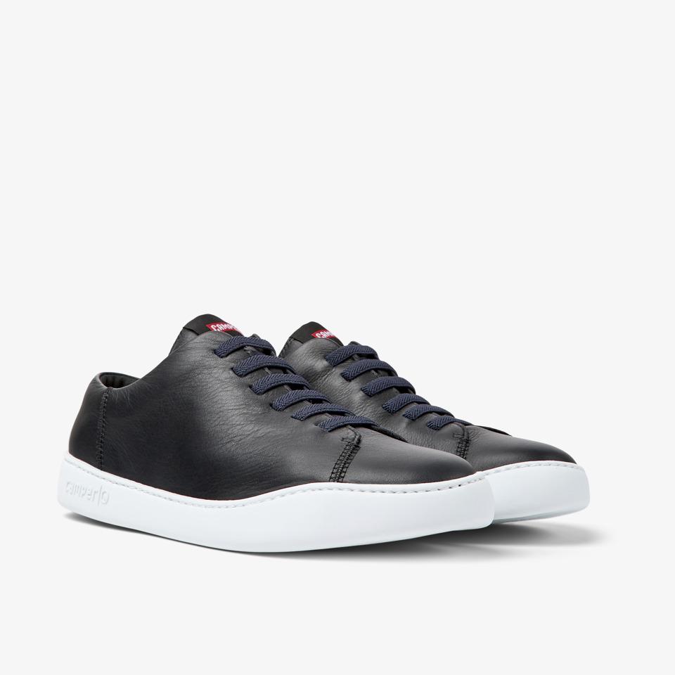 Camper Peu Touring K100479-001 Black Leather Mens Elastic Lace Shoe