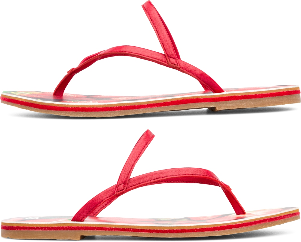Camper Twins Red Flats Women 21792-001