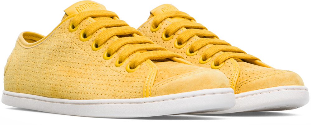 Camper Uno Yellow Flat Shoes Women 21815-048