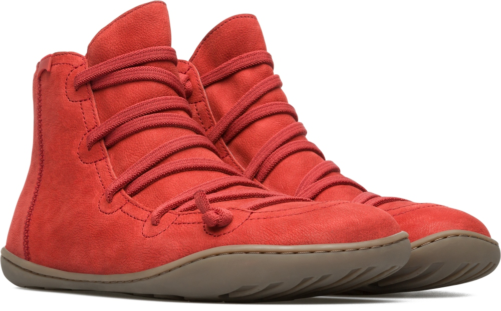 Camper Peu Red Ankle Boots Women 46104-091